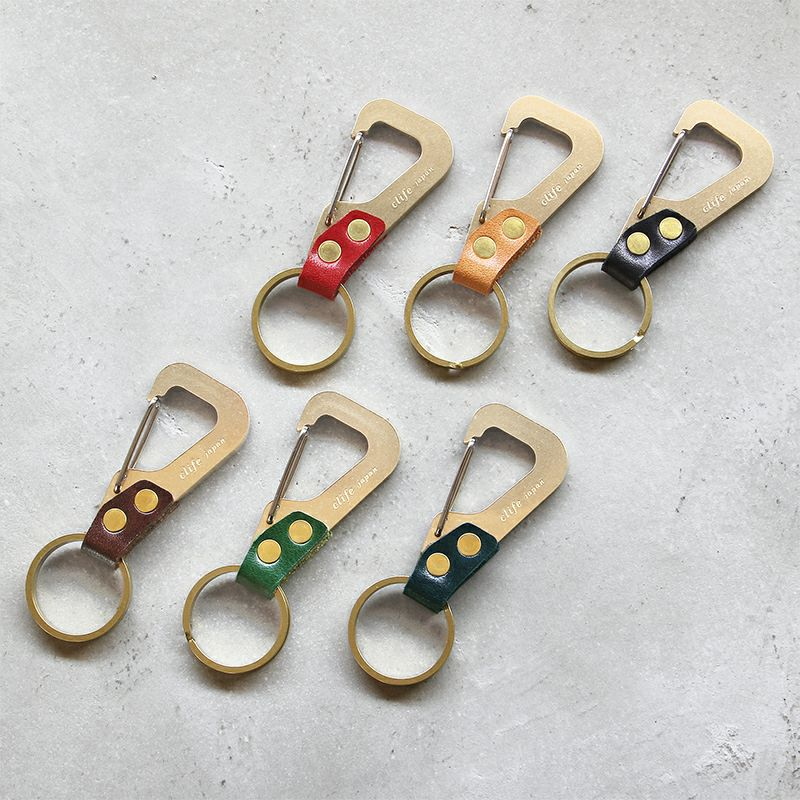 真鍮と本革のキーホルダー